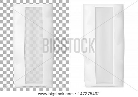 Paper bag for flour tea coffee pasta. Vector white soft packing.