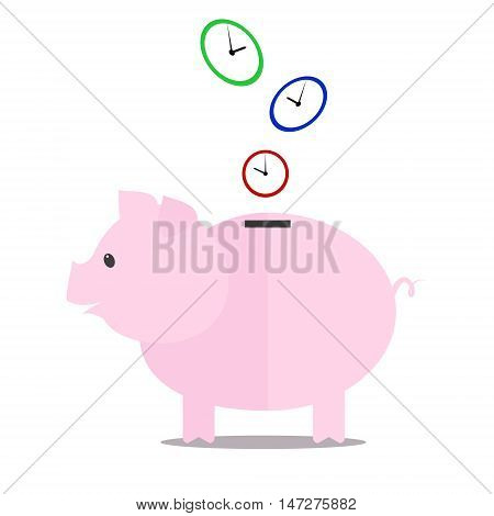 Piggy-bank saves time . Vector illustration. Flat
