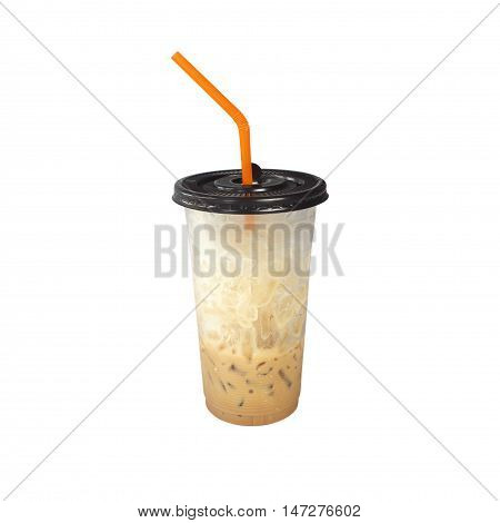 Iced coffee  cappuccino in plastic cup on background