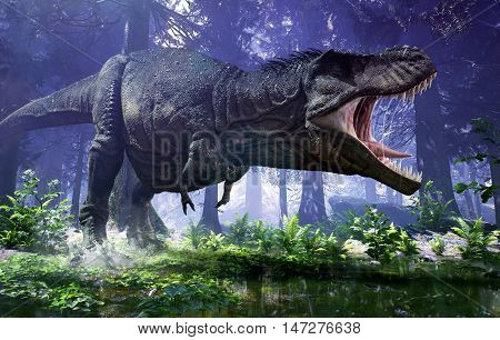 3D rendering of Tyrannosaurus Rex stomping through the wetlands of Hell Creek.