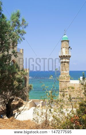 views of the Mediterranean Sea and the old turkish minaret from a height of Old Jaffa, Tel Aviv, Israel