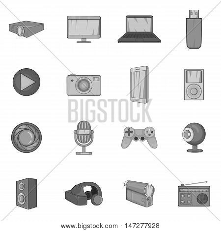 Audio and video icons set in black monochrome style. Multimedia set collection vector illustration