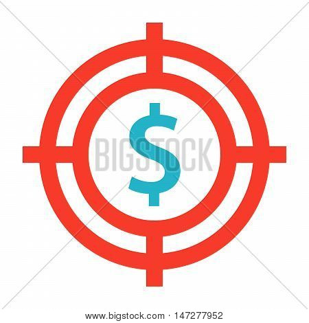 Business goals concept with dollar sign in crosshair.