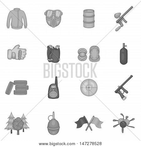 Paintball icons set in black monochrome style. Airsoft equipment and outfit set collection vector illustration