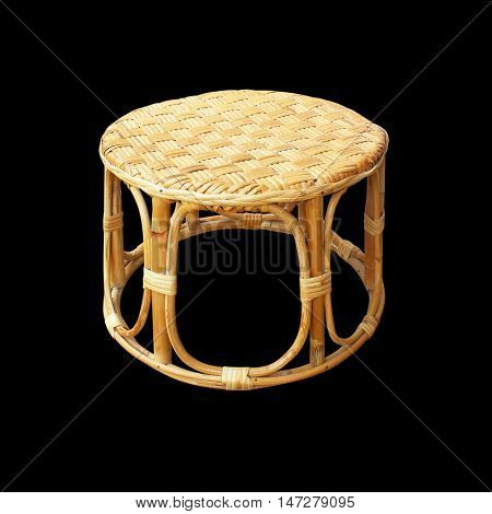 Chairs made of woven rattan on black background