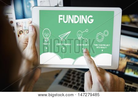 Crowd funding Startup Business Cooperation Graphic Concept