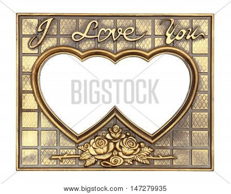 gold picture frame with a decorative pattern on white background
