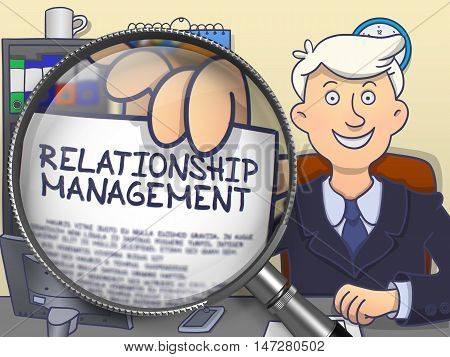 Relationship Management on Paper in Business Man's Hand to Illustrate a Business Concept. Closeup View through Magnifying Glass. Multicolor Doodle Style Illustration.