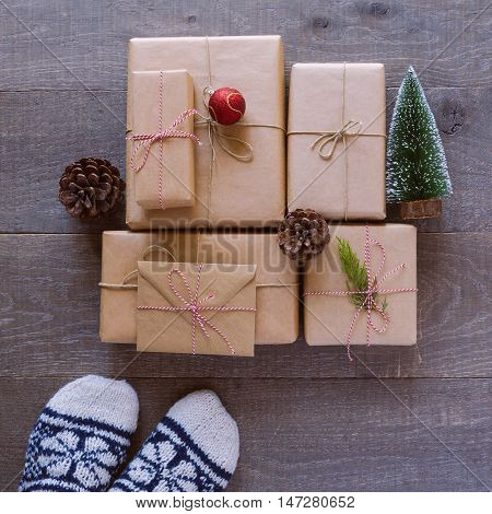 Christmas holiday handmade gift background. View from above