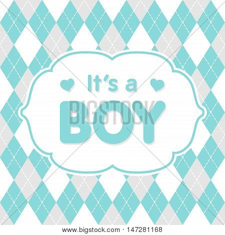 It's a boy. Vector congratulation, baby shower card. Cute illustration for baby boy.