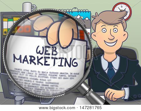 Web Marketing on Paper in Man's Hand to Illustrate a Business Concept. Closeup View through Magnifier. Colored Modern Line Illustration in Doodle Style.