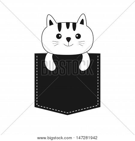 Cat in the pocket. Cute cartoon kitten contour kitty character. Dash line. Pet animal collection. White and black color. T-shirt design. Baby background. Isolated. Flat Vector illustration