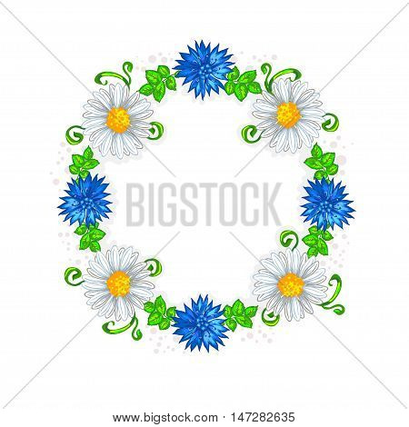 Wreath frame with blue cornflowers daisies and green leaves on a white background. Vector illustration.