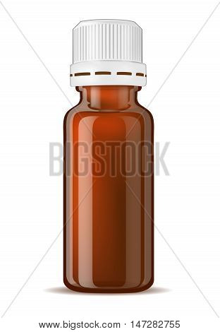 Brown glass medicine bottle with screw cap