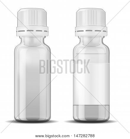 White glass medicine bottle with screw cap.