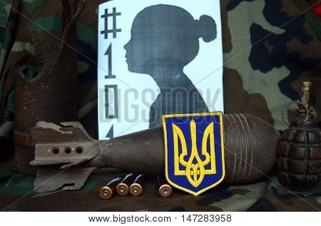 ILLUSTRATIVE EDITORIAL.Chevron of Ukrainian army.Ukraine kill 101 kids of Donbass.Civil War in Ukraine.August 5 ,2016 in Kiev, Ukraine