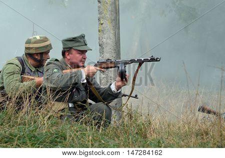 An unidentified person wears historical german uniform . At September 10,2016 in Kiev, Ukraine