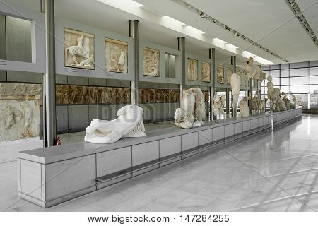 Athens, Greece - February 25, 2016: I Interior View Of The New Acropolis Museum In Athens.