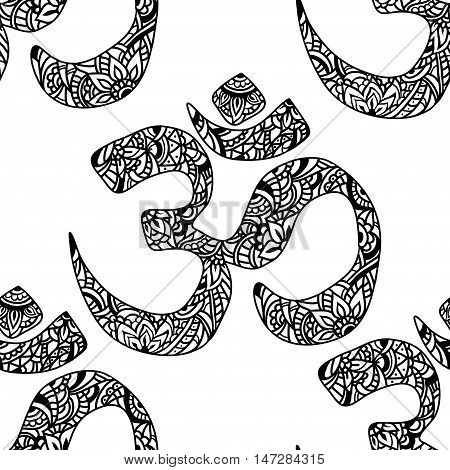 Seamless pattern Om of mehendi - Indian sacred sound original mantra. The symbol of the divine triad of Brahma Vishnu and Shiva.