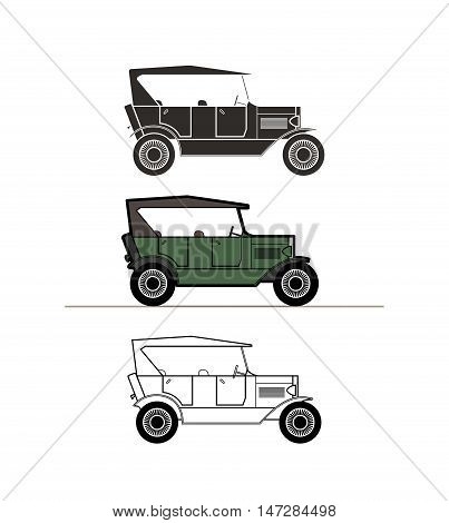 Retro cabriolet car vintage collection, classic garage sign, vector illustration background, can be used for design card infographics