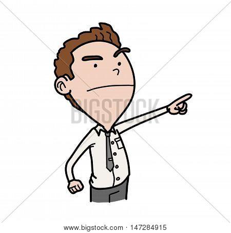 Business Leadership Concept. A hand drawn vector cartoon illustration concept of leadership attitude.