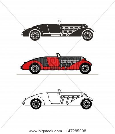 Retro cabriolet sport car vintage collection, classic garage sign, vector illustration background, can be used for design, infographics