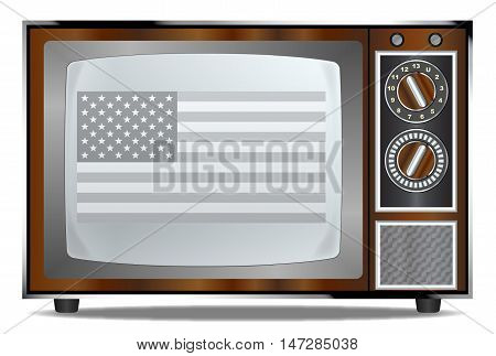 An old wood surround television receiver over a white background with the Stars and Stripes flag