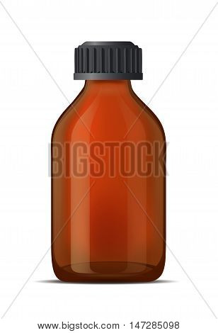 Brown glass medicine bottle with screw cap.