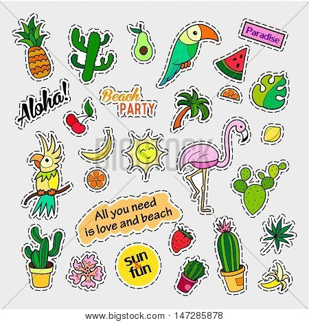 Fashion patch badges. Tropical set. Stickers, pins, patches and handwritten notes collection in cartoon 80s-90s comic style. Trend. Vector illustration isolated. Vector clip art.