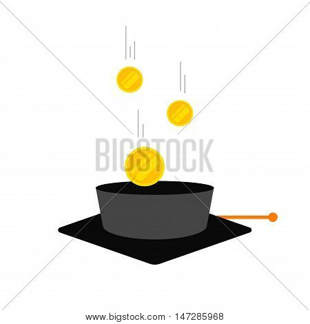Concept of education fee, scholarship money grant, education essences, school tuition cost, flat cartoon graduation cap with coins, education finances vector illustration isolated on white background