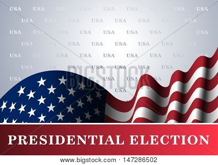 American flag for Presidential Election vote 4th July Independence Day celebration. Patriotic background. National design. Symbol the United State of America. Vector illustration