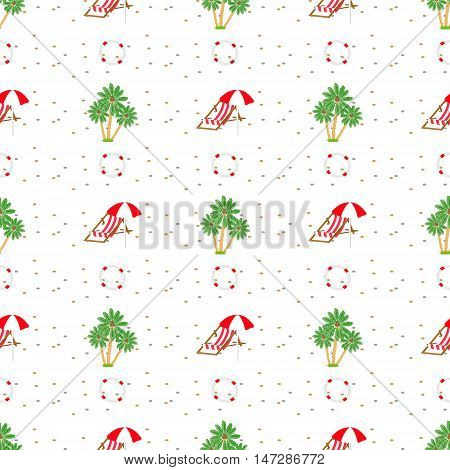 Seamless pattern with palm trees stone round