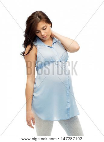 pregnancy, health, people and expectation concept - pregnant woman in bed touching her back and suffering from neckache over white background