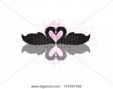 Two Swans in Love Creating a Heart Shape with Reflection