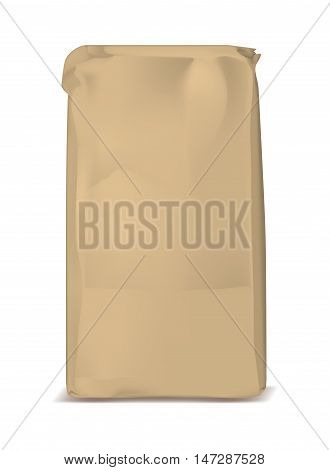 Paper bag for flour. Vector brown soft packing for sugar.