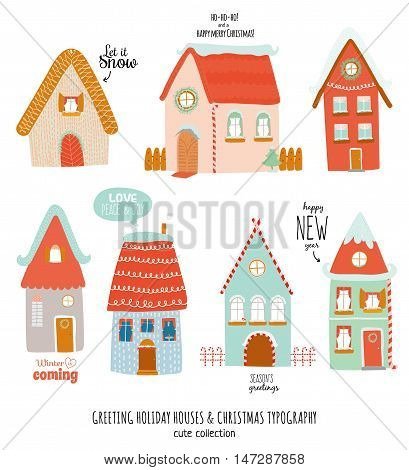 New Year and Christmas holidays elements. Stylized winter character houses. Christmas typography and wishes. Vector illustration. Isolated. White background. Good for winter design, cards or posters.