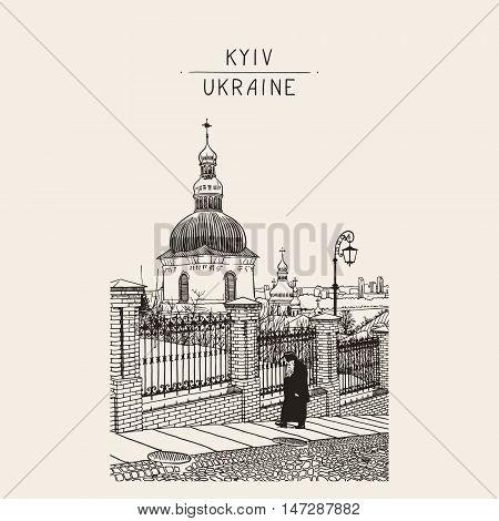 digital drawing of historical building landscape of ukrainian church with going monk, Pecherskaya Laurel, Kiev, Ukraine, vintage engraving style