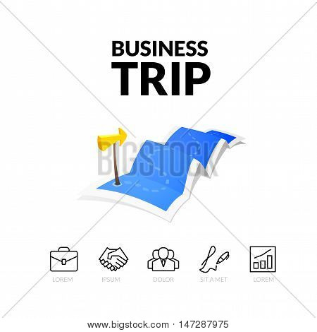 Business trip tour concept logo, long route in travel map with guide marker, vector illustration