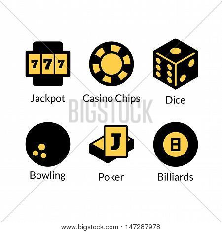 Gambling icons set, games of chance logo, vector illustration in cartoon style