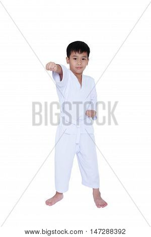 Full Body Of Asian Child Athletes Martial Art Taekwondo Training, Isolated On White.