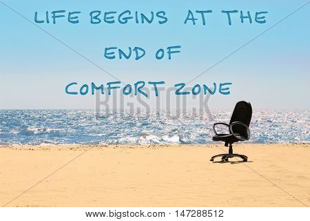 Comfort zone concept. An office chair on the beach