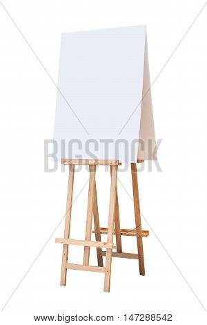 wooden easel with blank board isolated on white background