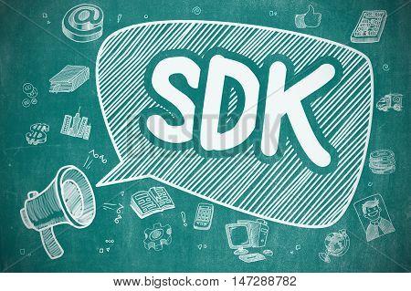 Speech Bubble with Wording SDK - Software Development Kit Hand Drawn. Illustration on Blue Chalkboard. Advertising Concept.