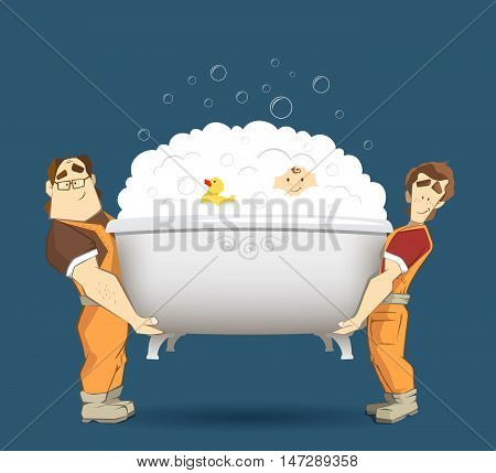 Two loaders movers holding and carrying white bathtub with kid yellow duck and foam with bubbles. Moving services 3d creative concept and conceptual illustration.