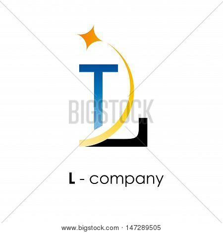 Vector sign letter L with star on white background