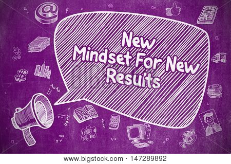 Business Concept. Loudspeaker with Wording New Mindset For New Results. Cartoon Illustration on Purple Chalkboard.