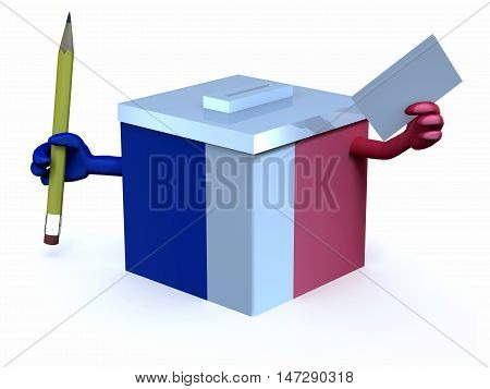 French Election Ballot Box With Arms, Pencil And Envelope On Hand