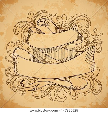 Vintage ribbon with decorative elements in baroque style on aged paper background. Retro hand drawn vector illustration