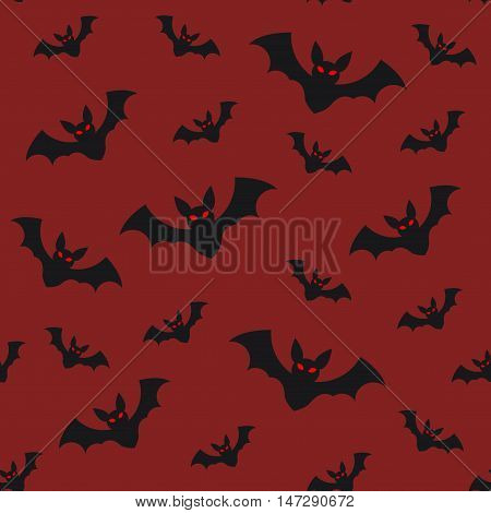 Halloween seamless pattern flying bats on red sky background mystery horror holiday vector flat illustration All Saints Day symbols