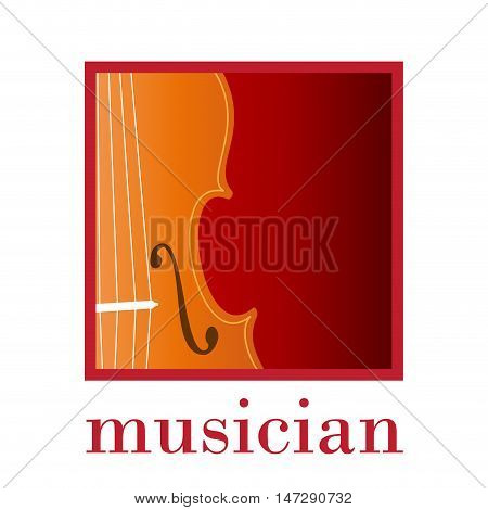 Vector sign music store. Musician. Abstract in square